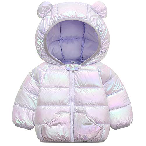 Winter Down Coats for Kids Sparkles Colorful Baby Boys Girls Light Weight Puffer Padded Jacket Bear Hoods Infant Outerwear
