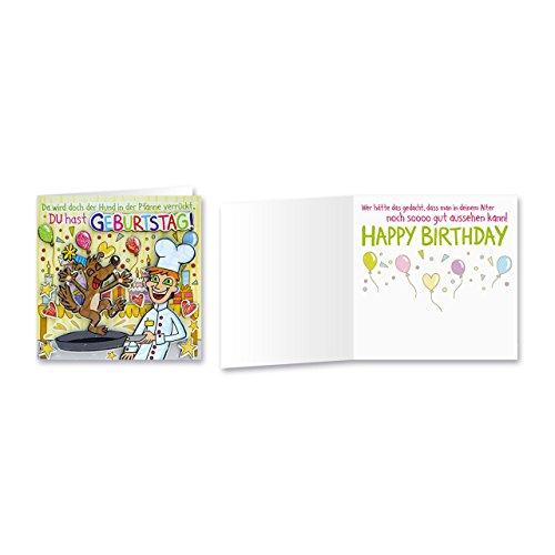 Sheepworld, Gruss & Co - 90025 - Klappkarte, mit Umschlag, Geburtstagsgrüsse mit Pop Nr. 25, Da wird doch der Hund in der Pfanne verrückt. Du hast Geburtstag!