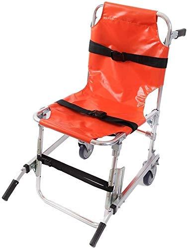 DFGH Medizinischer Transportstuhl mit Patientenrückhaltungsgurten, 350 lbs Kapazität Treppenstuhl Aluminium Leichtgewicht 2 Räder