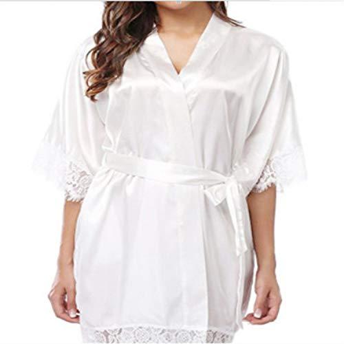 LLDKA Dama de Honor Satén Corto Novia Robe de Encaje Kimono Mujeres Boda Nightwear Verano Femenino Albornoz Ropa de lencería,Blanco,M