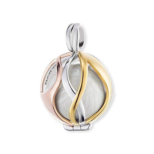 Engelsrufer Paradise Anhänger für Damen 925er Sterlingsilber Tricolour gelb- und rosévergoldet mit perlmuttweißer Klangkugel 18 mm