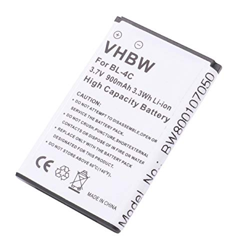 vhbw Li-Ion Akku 900mAh (3.7V) für Handy Telefon Smartphone SWISSTONE BBM 620, SWISSVOICE BBM 620, UTEC M980 wie BBA-07, BK-BL-4C.