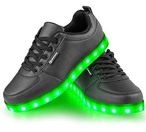 Shinmax Scarpe LED Carico USB 7 Colori Lampeggianti Unisex di Tennis per la Giornata della Promenade Partito Regalo di Natale di San Valentino con i Pattini Certificato CE con luci EU 36