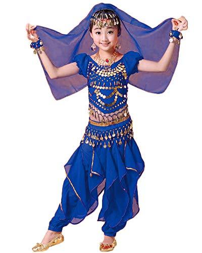 Mädchen Kinder/Damen Bauchtanz Kostüm Hosen Tanzkleidung Tanzkleid Outfit Saphirblau 136-145CM