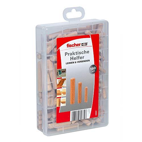 fischer Praktische Helfer Leimen & Verbinden, Sortimentbox mit 160 Holzdübeln, Set für sichere Verbindungen von Massivholz, Holzwerkstoffen & Plattenmaterialien