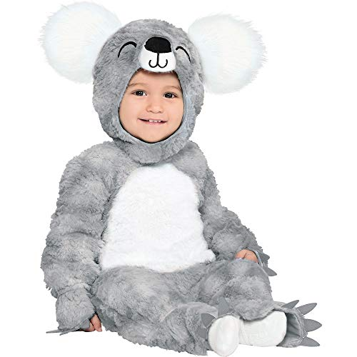 Party City Soft Cuddly Koala Bear Halloween Costume for Babies, Hooded Onesie, Gray and White, 6-12 Months