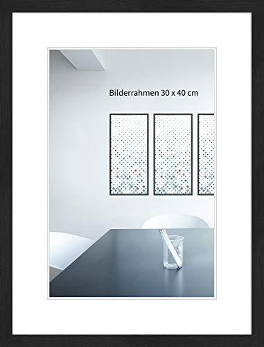 WANDStyle Bilderrahmen Modern 30x42cm DIN A3 I Farbe: Schwarz, gemasert I Fotorahmen I klassischer Holzbilderrahmen I Made in Germany I H950