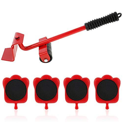 Ordioy 5 Stücke Professionelle Möbel Mover Werkzeug Set Heavy Suffs Transportheber Rollmaschine Walze Mit Radstange Moving Handgerät,Rot