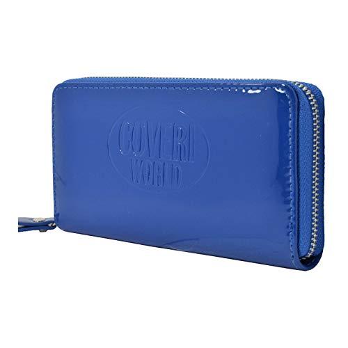 COVERI, Portafoglio Donna Piccolo Azzurro, EcoPelle con Cerniera effetto Lucido