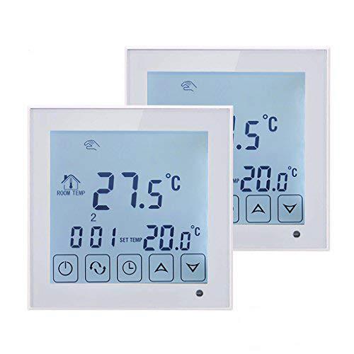 BEOK TDS23-EP Digital Raumthermostat Thermostat Mit Großen Touchscreen Für Fußbodenheizung Elektro-Zentralheizung Programmierbar Temperatur Controller AC200-240 V 16 A, 2 Stück, weiß, 230.00 voltsV
