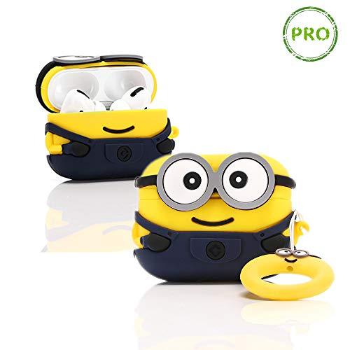LEWOTE Airpods Carcasa de Silicona LEWOTE Airpods Pro - Carcasa de Silicona para Apple Airpods Pro, diseño de Dibujos Animados 3D (Two Eyes Minions)