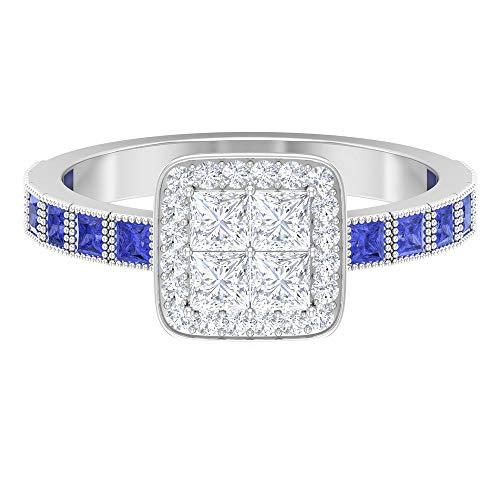 Anillo de diamante de talla princesa de 0,8 quilates, 1,8 mm, anillo de tanzanita de corte princesa, diamante HI-SI y tanzanita, 14K Oro blanco, tanzanita, Size:EU 63