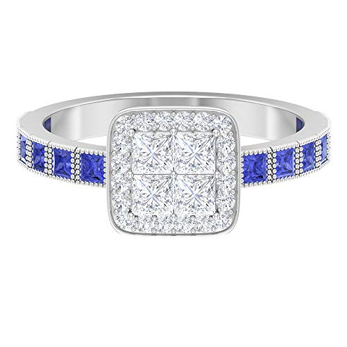 Rosec Jewels - 18 Karat Weißgold Runder Brilliantschliff Prinzessschliff Prinzess Leicht Getöntes Weiß/Top Crystal (I) Blue Diamant Tansanit