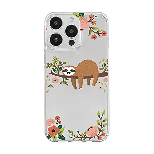 iPhone 13 Pro (6.1 inch) Case,Blingy's 2021 Cute Sloth Style Transparent Clear Soft TPU Protective Case Compatible for iPhone 13 Pro 6.1' (Sleeping Sloth)