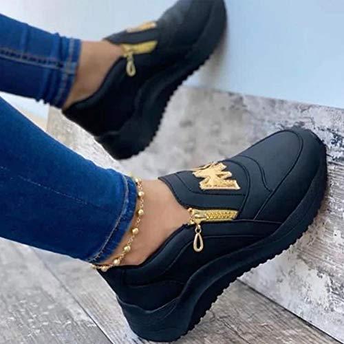 Zapatillas De Talón Ligeras De La Pendiente De Las Mujeres, Agregue Zapatos De Caminar Ortopédicos De Plataforma De Cremallera Lateral para Mujer(Size:38,Color:C)