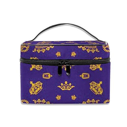 Royal Crowns - Or sur Violet Voyage Maquillage Train étui Maquillage cosmétique étui Organisateur Sac de Rangement Portable