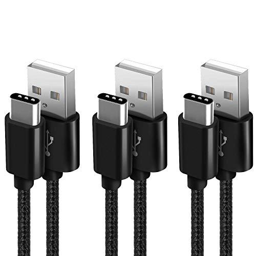 SUCESO Cavo USB C [3 Pezzi,1m+2m+2m] Cavo USB Tipo C Nylon Intrecciato Cavi Type C Rapida Compatibile con Samsung Galaxy S9+/S9/S8/S8+,Note 8,Huawei P9 P10,OnePlus,Honor,Nexus 5X/6P,Xiaomi e pi(Nero)