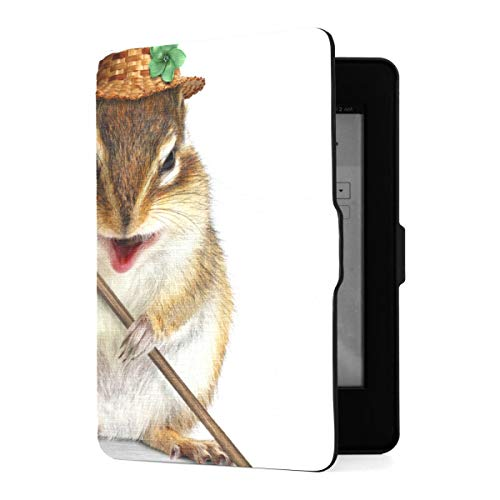 Kindle Paperwhite 1 2 3 Hülle, Funny Animal Farmer Eichhörnchen Hay Fork Pu...