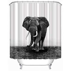 Dodou Animals Digital Printing Animal Shower Curtain Art Bathroom Decor Elephant Design Polyester Waterproof Fabric Bathroom Accessories with Hooks ?72''Wx72''H ?