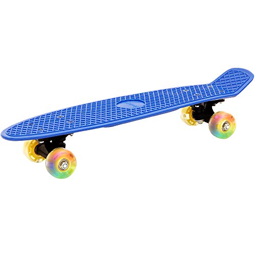 Deuba Atlantic Rift Retro LED Skateboard Pennyboard Citysurfer Board | Oldschool-Design | LED-Leuchtrollen - 【Farbauswahl】 (Blau)