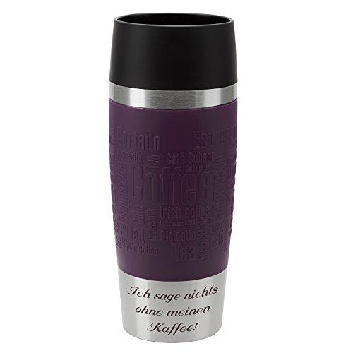Emsa Thermobecher Travel Mug Brombeer 360 ml mit persönlicher Rund-Gravur gelasert Edelstahl Soft-Touch-Manschette lila Quick Express Verschluss