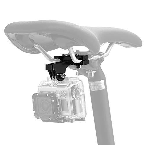 ParaPace Bicicleta Sillín Rail Camera Mount Bike Seat Mount para GoPro Hero 7/6/5s/5/4s/4/3 + Campark AKASO dji OSMO Accesorios de cámaras de acción,Negro