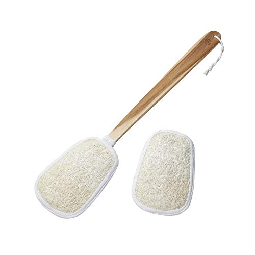 FAAY 17 Inch Natural Exfoliating Loofah Back Scrubber On a Stick with Luffa Sponge Pads Refills – Long Handle Loofa Body Bath & Shower Brush for Men & Women