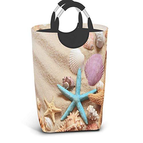Seashells on Summer Beach Cesto de ropa sucia Bolsa de ropa sucia Arena Estrella de mar Cubo plegable Cubo de lavado de juguetes Organizador de almacenamiento con asas para dormitorios universitarios