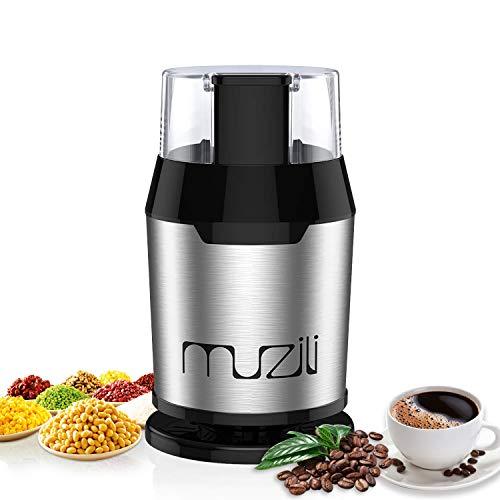 Elektrische Kaffeemühle,Muzili Kaffeemühle Kaffeebohnen Nüsse Gewürze Getreide Mühle, 60 dB Geräuscharm,50ml Fassungsvermögen, mit Reinigungsbürste