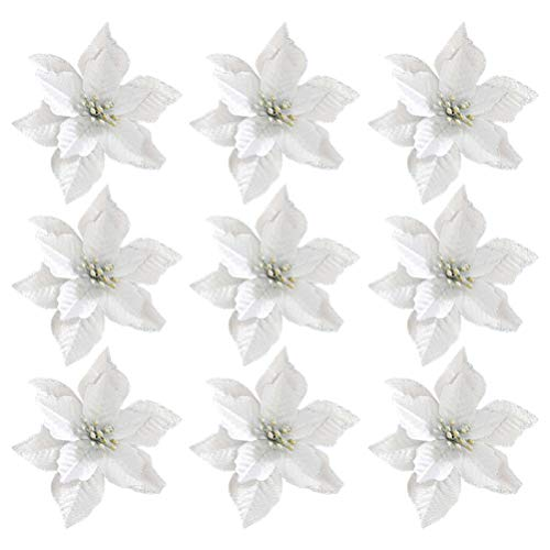 Tomaibaby 36 Pieces Christmas Poinsettia Flowers Artificial Glitter Christmas Tree Ornaments for Xmas Wedding Decorations (Silver)