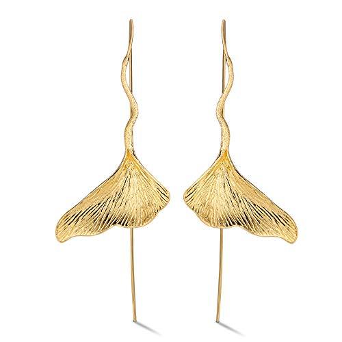 ♥ Regalo para Navidad♥ JIANGYUYAN S925 Pendientes colgantes de plata esterlina Pendientes colgantes de hoja de ginkgo vintage para mujeres y niñas(Gold)