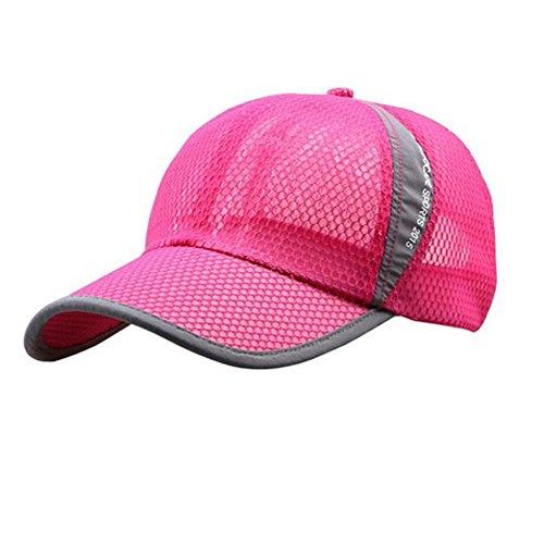 Schnell trocknende Mesh-Baseballkappe für Damen und Herren, atmungsaktiv, Sonnenschutz, Jungen Damen Unisex-Erwachsene Herren, rose pink, Large