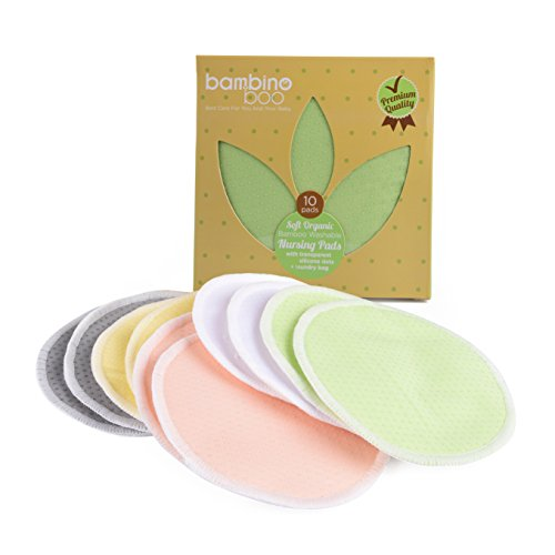 Big Save! Bambino Boo Organic Bamboo Nursing Pads (10 Pack) | Washable, Soft, Breathable & Absorbent...