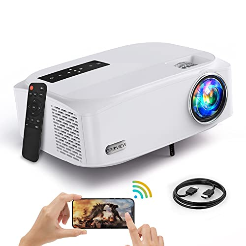 """5G WFi Projector, G R O V I E W 8500L Full HD Native 1080P Projector Synchronize Smartphone Screen, Max 300"""" Display , 4K Video Support, Compatible with TV Stick/HDMI/DVD Player/AV for Outdoor Movie"""
