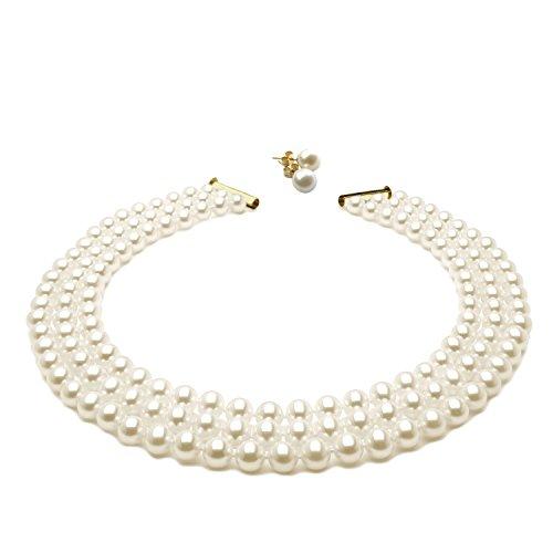 Schmuckset aus dreireihiger weißer Perlenkette (45 cm) & Ohrstecker mit weißen Perlen