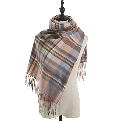 FJZAD Scarf Female College Style Simple and Sweet Scarf Female Autumn and Winter Knitted Warm Shawl (Color : Pink1)