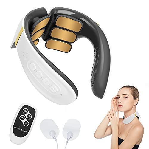 Komake masajeador de cuello, masajeador de cuello portátil inteligente con calefacción, máquina de pulso eléctrica para aliviar el dolor de la vértebra cervical, regalos para padres y amigos