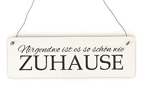 Interluxe Shabby Vintage Schild Türschild NIRGENDWO IST ES SO SCHÖN WIE ZUHAUSE Holzschild Landhaus Impression