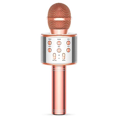 Wireless Bluetooth Karaoke Microphone,4 in 1 Portable Handheld Karaoke Mic Speaker Machine,Home KTV Player