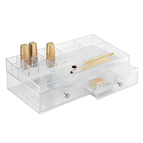 Price comparison product image InterDesign Drawers Jewellery Tray Organiser,  Cosmetic Organiser Drawer with 15 Compartments and 2 Drawers,  Plastic,  Clear
