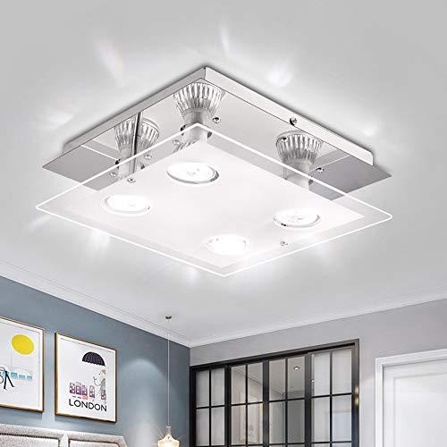 HITECHLIFE Plafoniere moderne a LED, plafoniera a filo a 4 teste-4x6W lampada da soffitto in metallo bianco caldo-plafoniera moderna da interno lampadario a sospensione per camera da letto, soggiorno