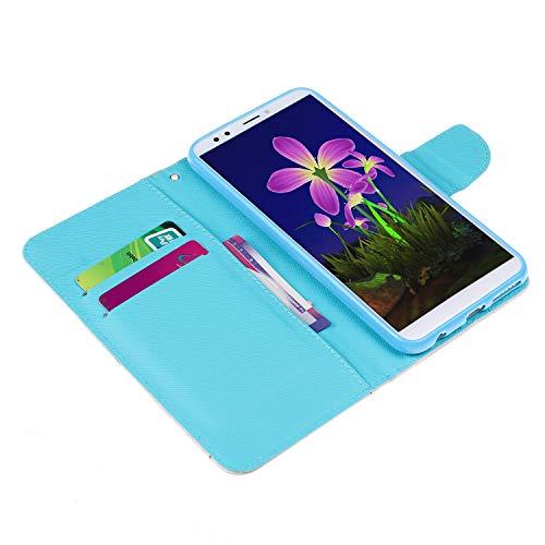 Kompatibel für Huawei Honor 7C/Huawei Y7 2018 Hülle Ledertasche Flip Case,QPOLLY Premium PU Leder Gemalt Muster Klapp Schutzhülle im Bookstyle mit Kredit Karten Fach Magnet Handy Hülle Tasche,Katze - 4