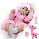 CHAREX Realistic Reborn Baby Dolls Real Looking Lifelike Dolls for Girls 22 Inch Handmade Weighted Baby Dolls Newborn Silicone Baby Doll with Giraffe Toy Gifts for Kids Age 3+