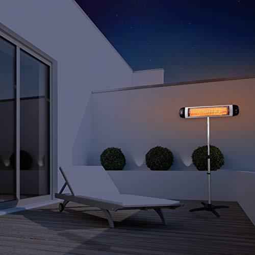 SUNTEC Carbon-Heizstrahler Heat Ray Carbon 3000 Outdoor mit Teleskopstandfuß [Für Räume bis 60 m³ (~25 m²), Indoor & Outdoor geeignet, 3 Heizstufen, Timer, 3000 Watt] - 2