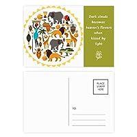 アフリカの野生動物野生生物アフリカ ポストカードセットサンクスカード郵送側20個ミス