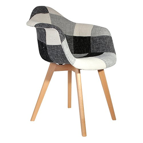 The Home Deco Factory silla escandinava Patchwork, madera + poliéster + PP, Gris/Blanco/Negro, 64x57.5x85.5cm, 2 unidades