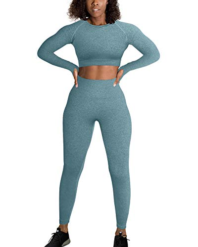 OYS Workout Sets for Women 2 Piece Outfits Seamless High Waist Yoga Leggings Long Sleeve Crop Top Gym Clothes Dark green