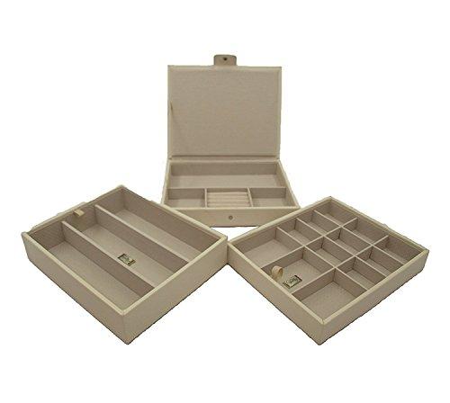 CORDAYS - Portagioie per Signora con 3 Cassetti impilabili e Chiusura a Pressione, Scatola Organizzatrice di Ottima qualità Fatta a Mano- Colore Crema CDL-10041A