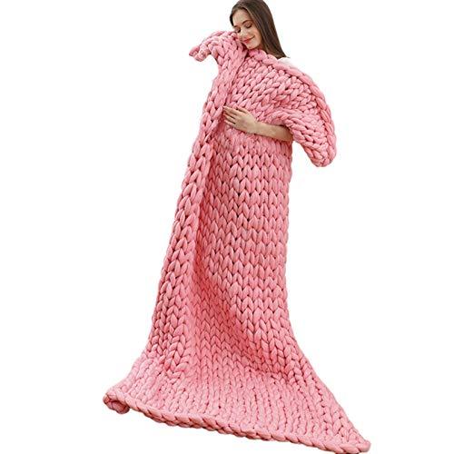 Varm Chunky Knit Filt Kasta, Chunky Jätte Knyta Kasta Super Stor Sovrum Dekoration Säng Stol Soffa Husdjurs Yoga Matta, Rosa Mjuk (Size : 120x180cm)