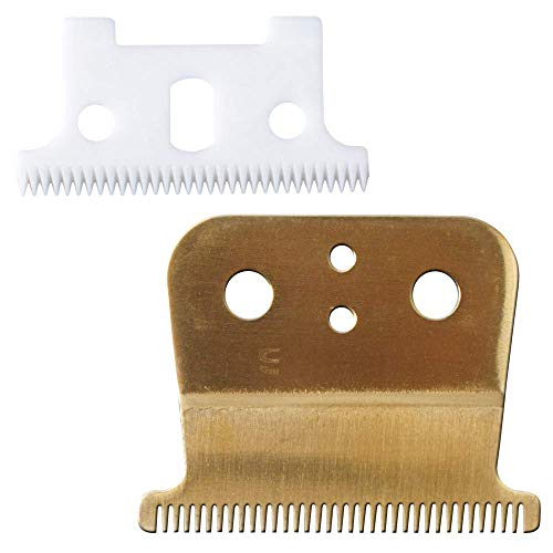 Pro T Outliner - Lame di ceramica per tagliacapelli di ricambio # 04521 - Poweka compatibile con Andis T Outliner Trimmer (oro)